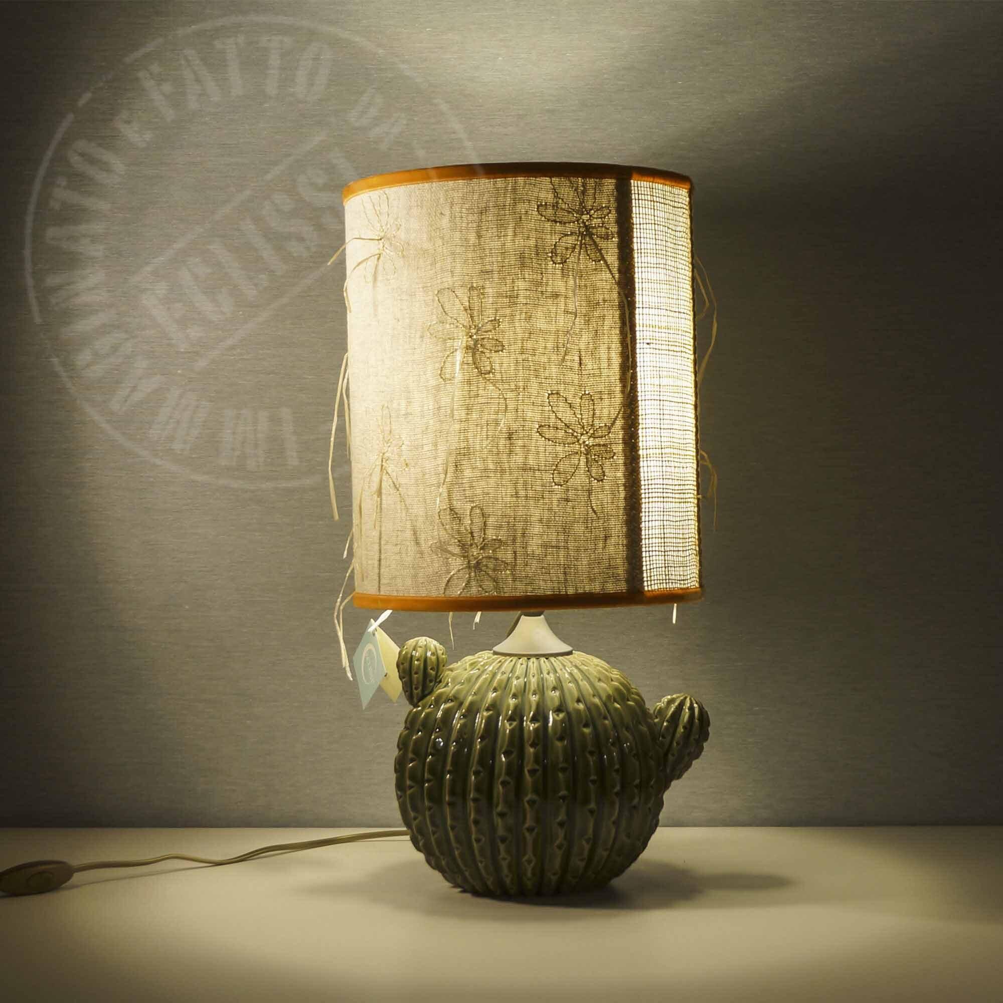 Lampada con vaso in ceramica cactus