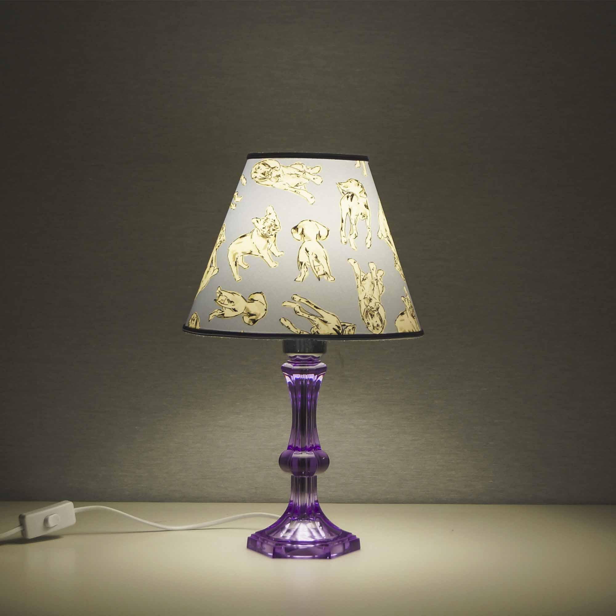 Lampada Cagnolini celeste con base in plexiglass