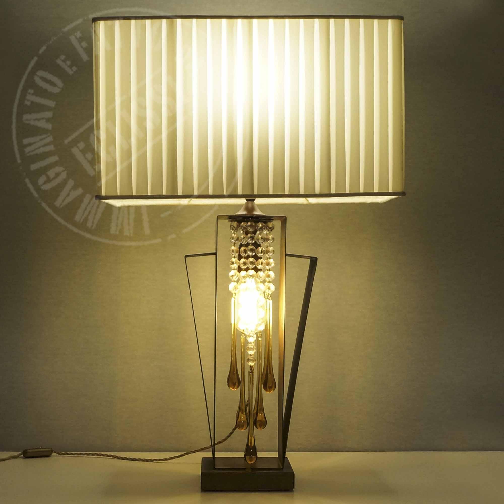 Lampada Ruggine con Paralume e gocce di vetro