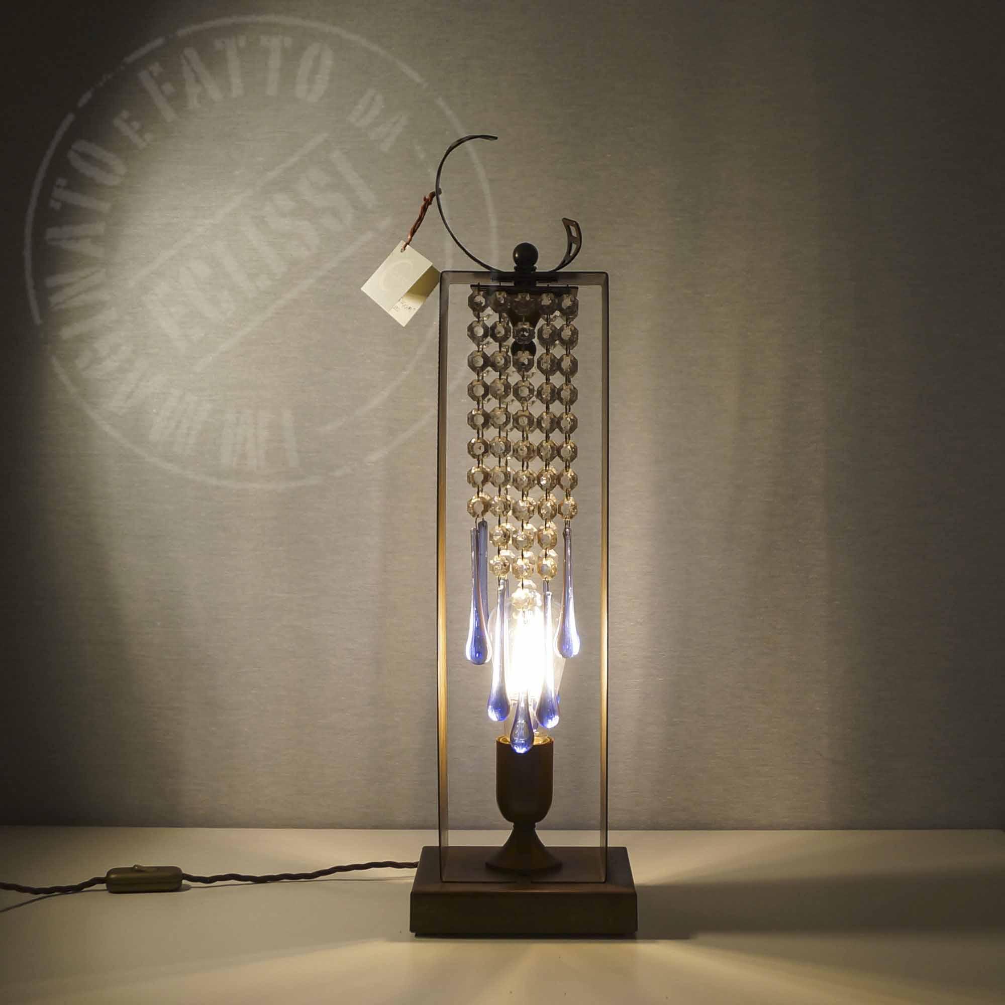 Lampada Ruggine con cristalli di vetro