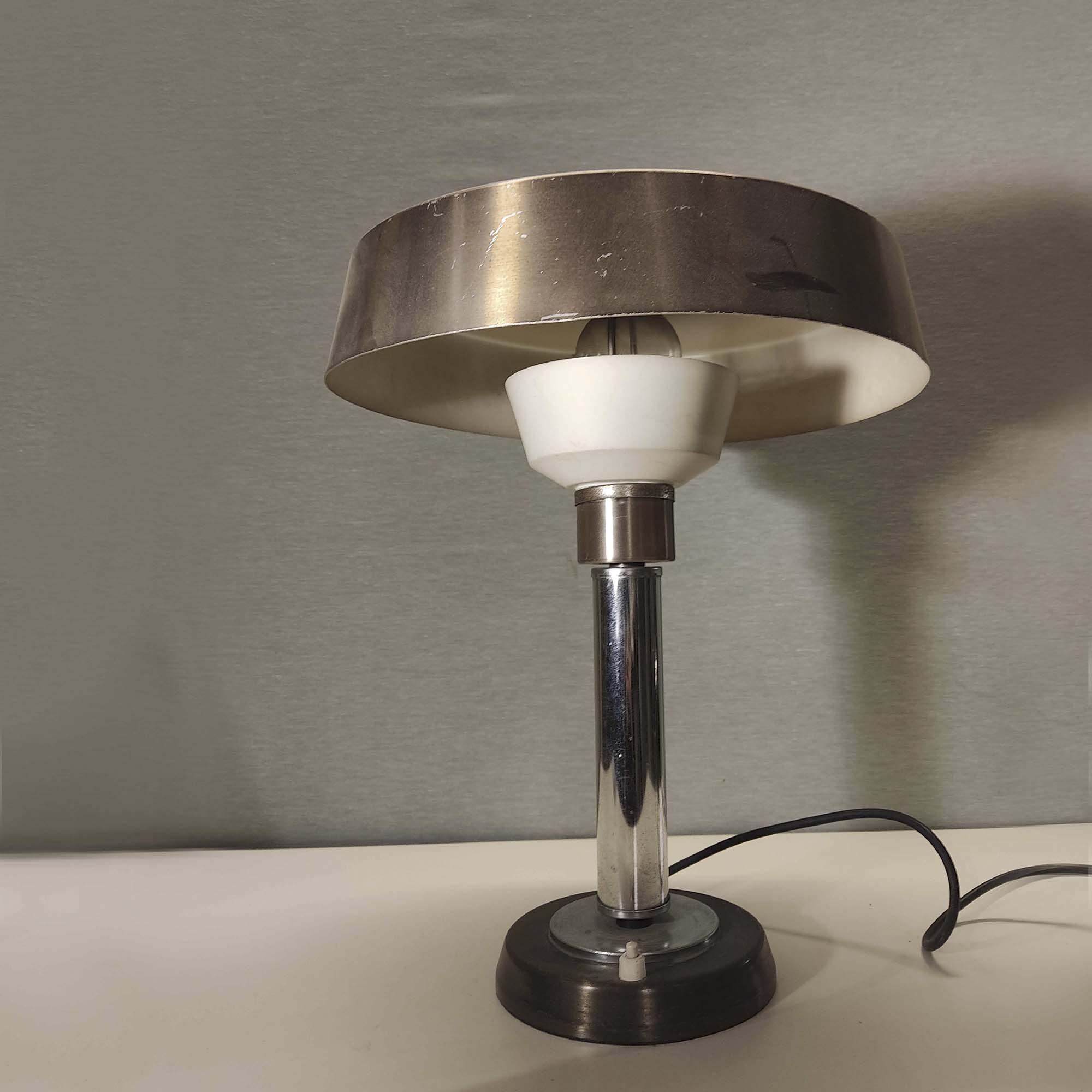 Lampada anni '60 in alluminio cromato e dorato